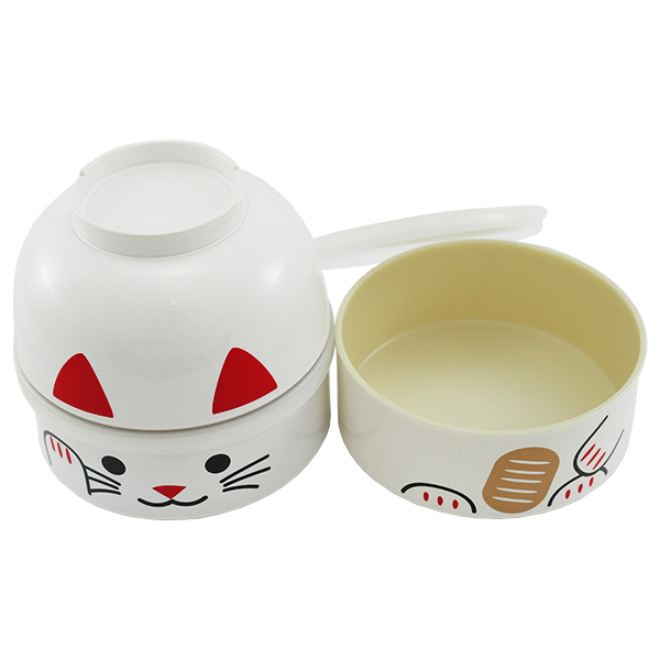 11428 kokeshi bento white lucky cat 2