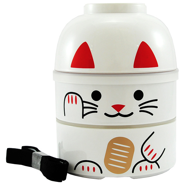 11428 kokeshi bento white lucky cat main