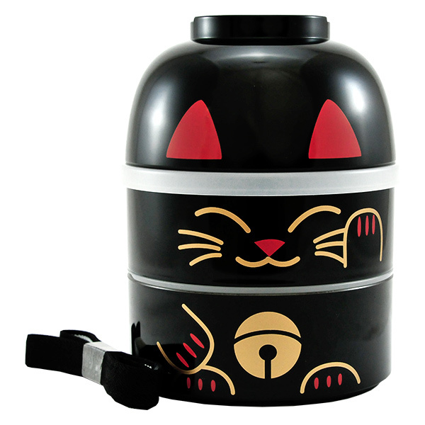 11429 kokeshi bento black lucky cat