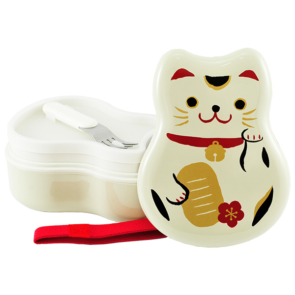 5974 lucky cat lunch box white open