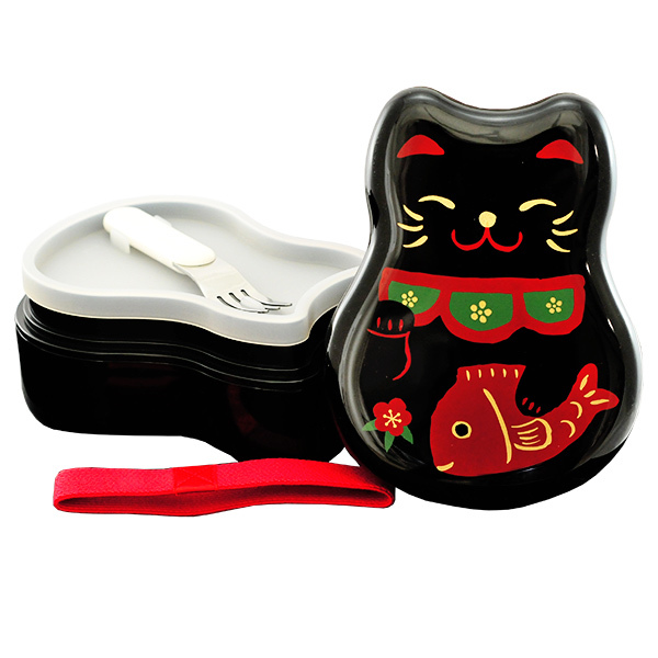5793 hakoya lucky cat bento box open