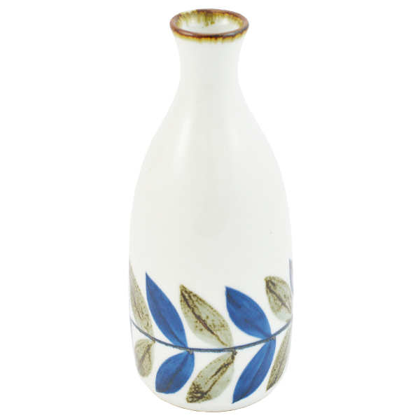 11715 sake bottle white blue brown leaf pattern