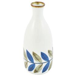 11715 sake bottle white blue brown leaf pattern