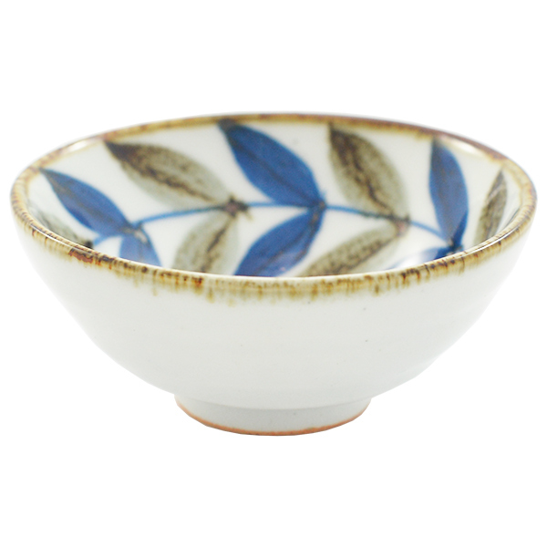 11716 bowl cup white blue brown leaf pattern
