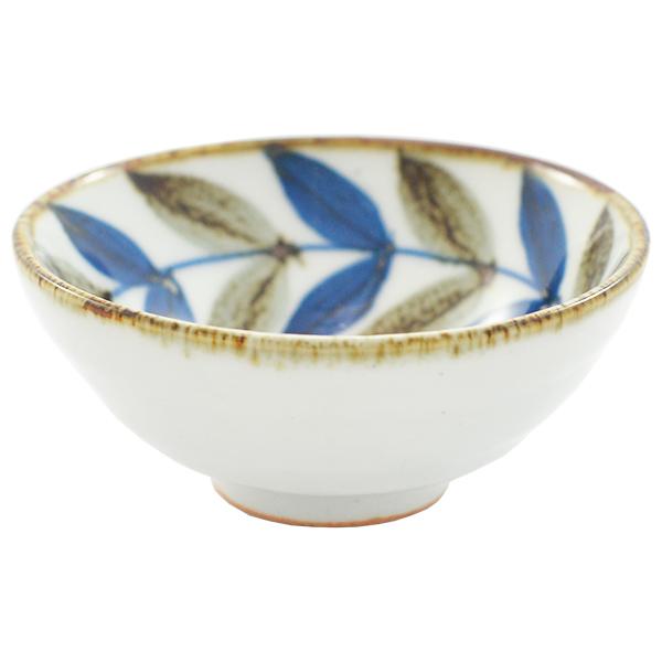 11716 bowl cup white blue brown leaf pattern
