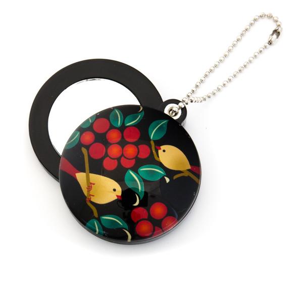 11924 slide mirror keychain birds berries
