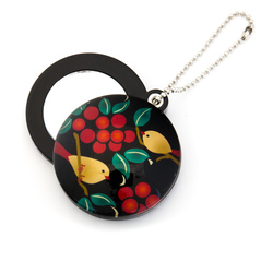 11924 slide mirror keychain birds berries