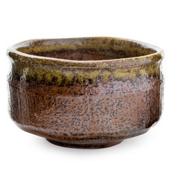 11729 ceramic matcha bowl brown green mottled