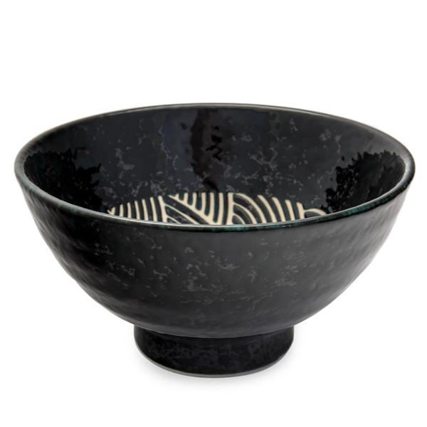 11820 ceramic noodle bowl black wave pattern