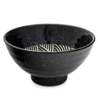 Ceramic Noodle Bowl - Black, Wave Pattern