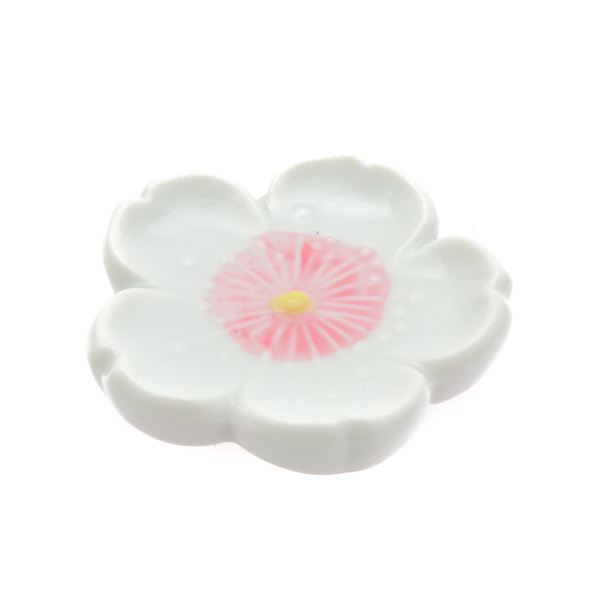 11858 ceramic cherry blossom chopstick rest white