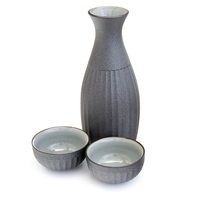 Ceramic Iron Coated Sake Set - Steel Grey