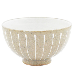 11905 ceramic rice bowl grey white stripe pattern