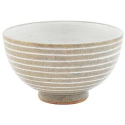 11906 ceramic rice bowl grey white horizontal stripe pattern