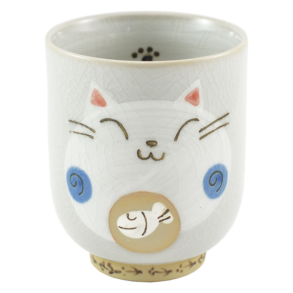 11871 ceramic cat teacup blue front