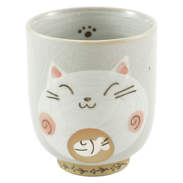 11872 ceramic cat teacup pink front