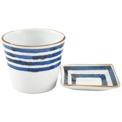 11660 ceramic cup side dish set blue stripe pattern