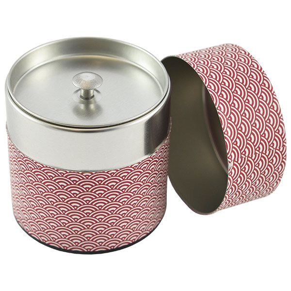 11948 tea canister red wave pattern open
