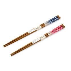 11735 wooden his hers chopstick set navy red cherry blossom
