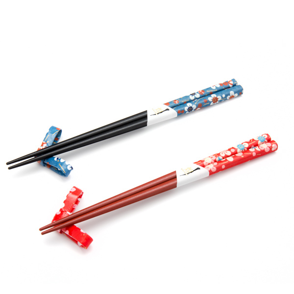 11894 wooden his hers chopsticks and chopstick rest set blue red flower pattern