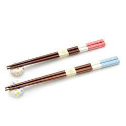 11880 chopsticks chopsticks rest set pink blue polkadot pattern