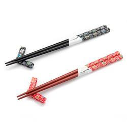 11895 wooden chopsticks and chopstick rests set black red fireworks pattern