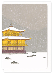 12438 golden pavillion in winter greeting card