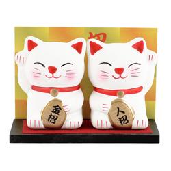 12489 ceramic lucky cat figurine white