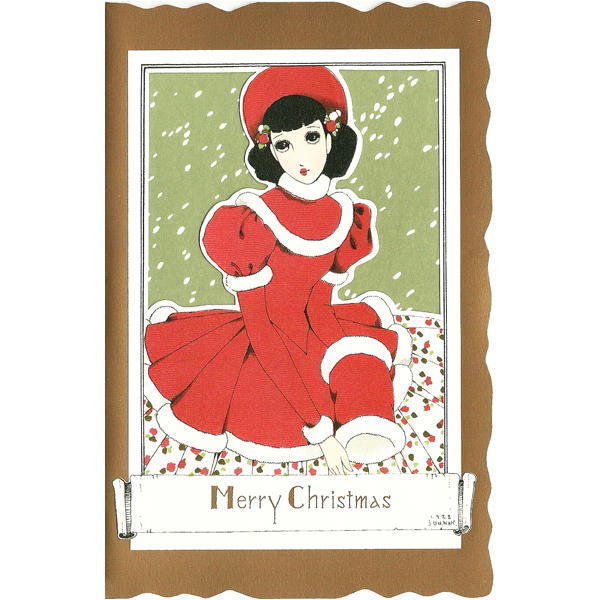 12206 jun nakahara girl in red christmas card