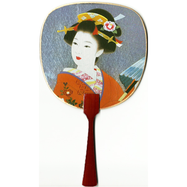 12183 beautiful geisha card fan