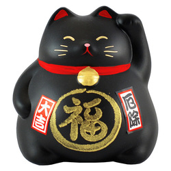 6749 lucky cat coin bank black