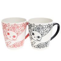 Ceramic Mug Set - Black And Red, Cat Pattern