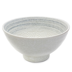 11821 ceramic noodle bowl white wave pattern