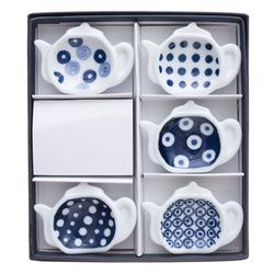 11676 ceramic teapot shape soy sauce dish set white blue dotted box
