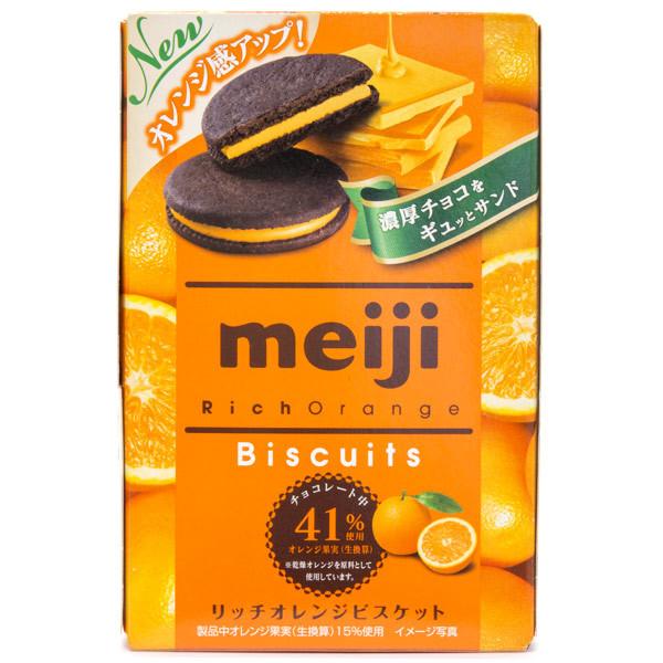 13036 meiji rich orange flavoured chocolate biscuits