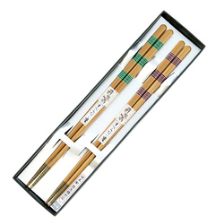 13085 wooden his hers chopsticks set pink green stripe pattern 2
