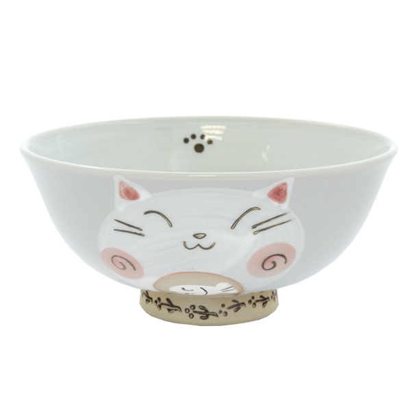 13114 ceramic cat rice bowl red cat pattern
