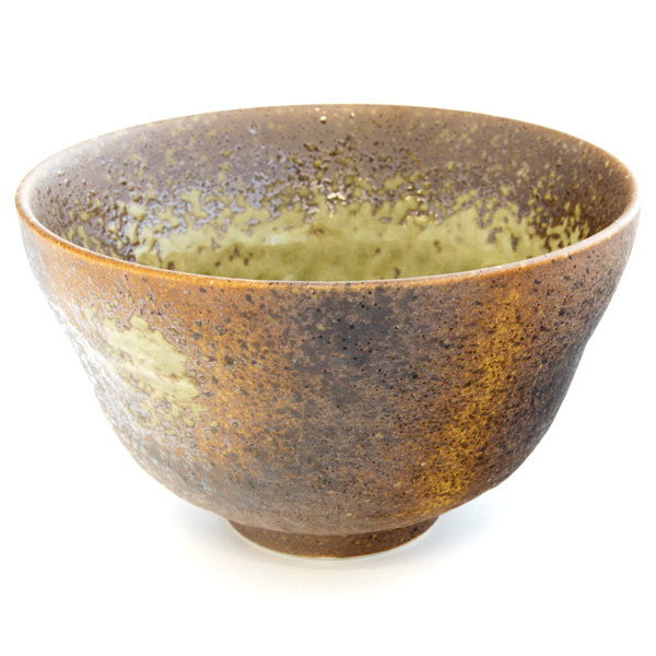13129 ceramic rice bowl brown green mottled pattern