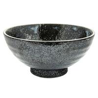 Ceramic Noodle Bowl - Metallic Black, Mottled Pattern