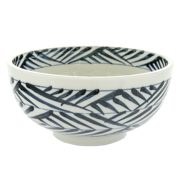 13165 ceramic noodle bowl white blue brushstroke pattern