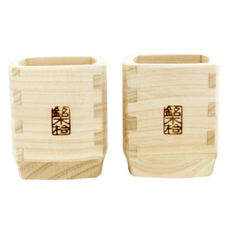 13179 hinoki cedar wood sake cup set