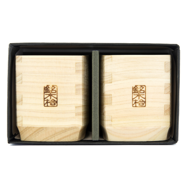 13179 hinoki cedar wood sake cup set 2