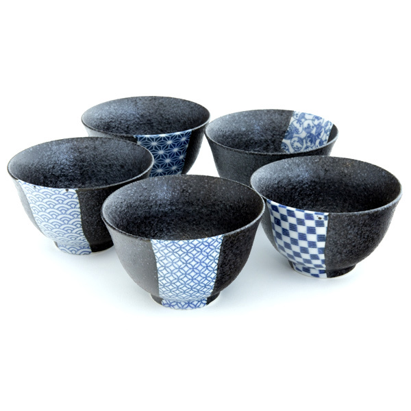 Ceramic Teacup Set - Black, Traditional Japanese Pattern, 500 g, 5 items