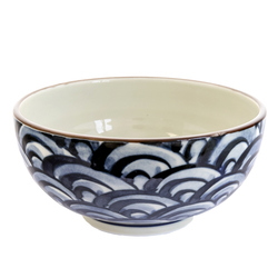 13106 ceramic noodle bowl white blue wave pattern