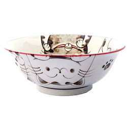 13228 ceramic noodle bowl pink cat pattern