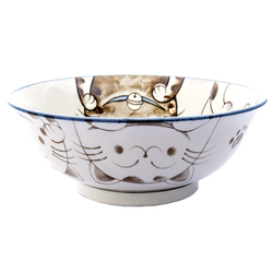 13229 ceramic noodle bowl blue cat pattern