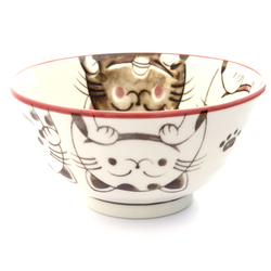 13215 ceramic rice bowl pink cat pattern