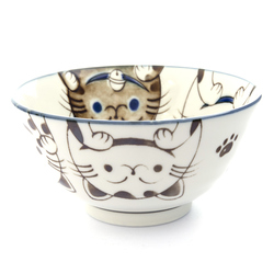 13216 ceramic rice bowl blue cat pattern