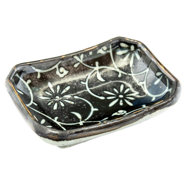 13157 ceramic soy sauce dish black flower pattern