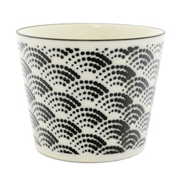 13124 ceramic dipping sauce dish white black wave pattern